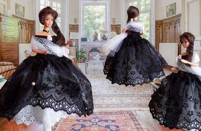 tuto gratuit Barbie princesse  : robe  dentelles noire et blanche lady Elisabeth