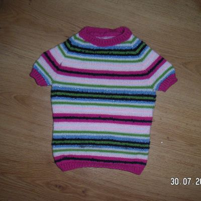 pull rayé fille 4 ans manches courtes