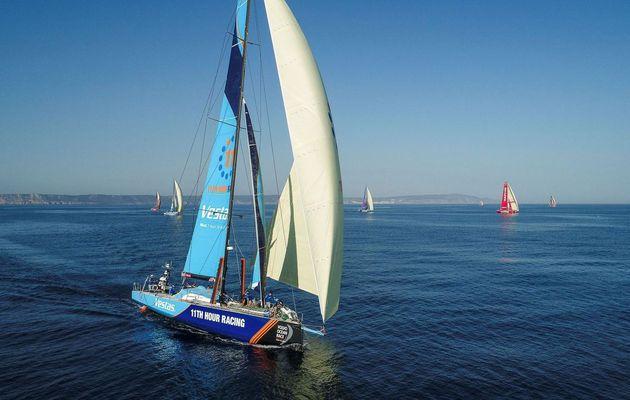 Volvo Ocean Race - the VOR65 fleet heading for start port of Alicante as Prologue is underway