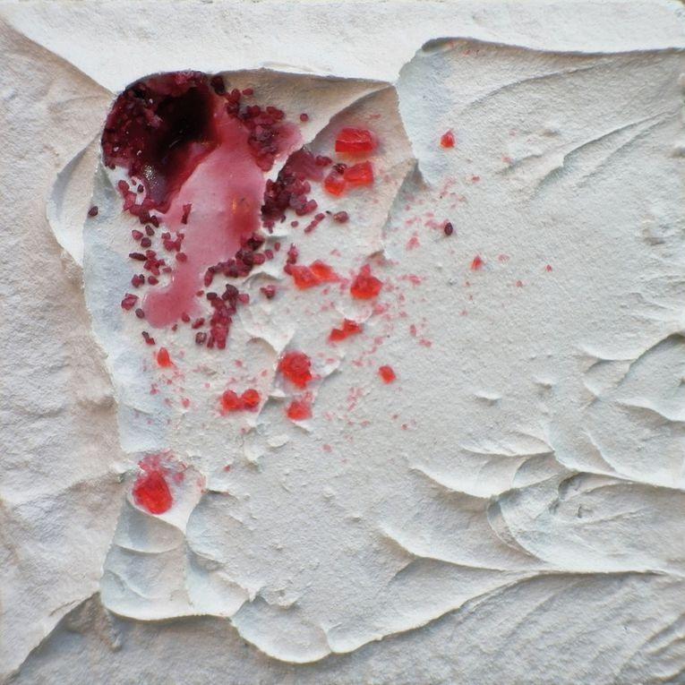 """Série """"Fleurs d'Abscysses"""" © Mā Thévenin - Technique mixte - 15x15 cm ou 10x10 cm"""