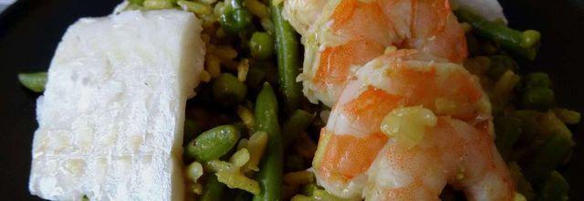 légumes au riz complet avec crevettes et églefin au curry -LIGHT-