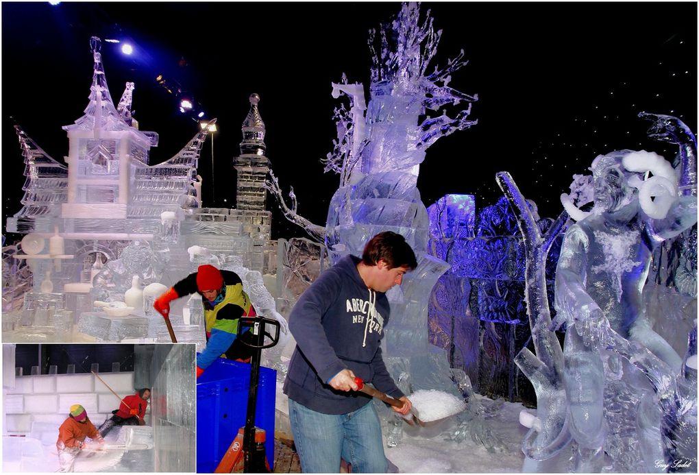 Ce festival de sculptures de neige et de glace est créé par les mains adroites d'une trentaine de sculpteurs professionnels issus de douze pays. Pas moins de trois cents tonnes de glace cristalline et deux cents tonnes de neige sont transformées