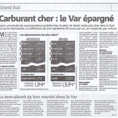Etude CLCV sur les carburants parue sur Var Matin