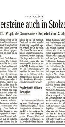 Harke 17.5.13 -- Stadtrat Solzenau beschließt Stolpersteine