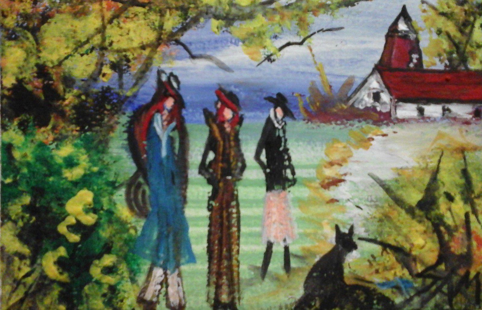 """""""LES TROIS FEMMES AU CHAPEAU """"  Peinture gouache sur bois. haut 8 cm largeur 12 cm"""