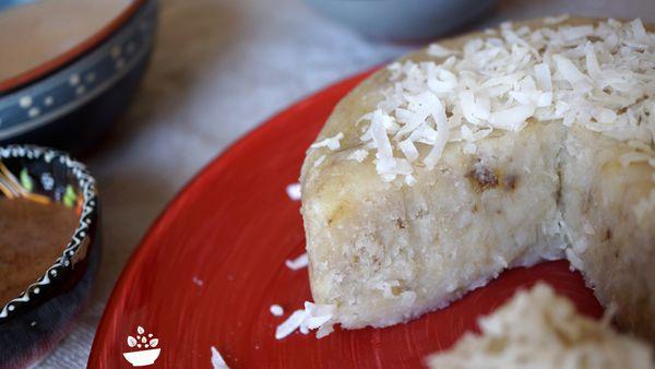 Gâteau banane-coco et émulsion chocolatée {sans œufs, sans gluten, avec de la pâte à tartiner}