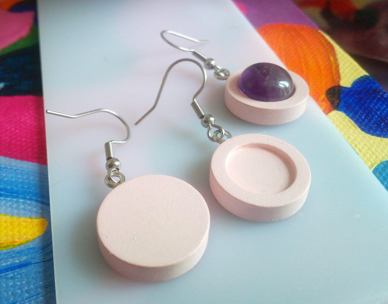 12mm,base boucles oreilles bois rose,crochets acier inoxydable,collagecabochon rondfond plat,verre image fimo pierre,fourniture bricolage