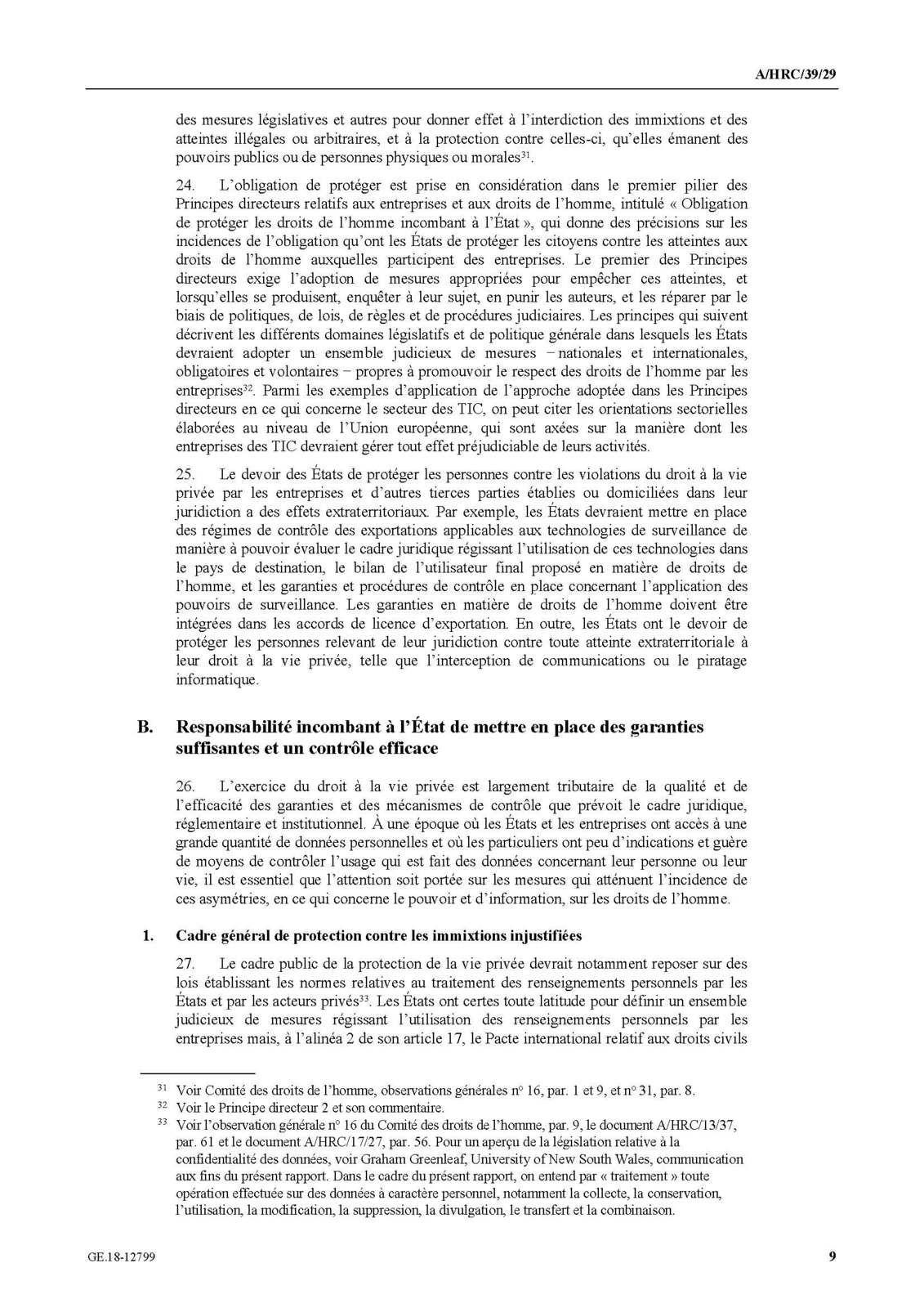 Le droit à la vie privée à l'ère du numérique, rapport du Haut-commissaire des Nations Unies aux droits de l'homme