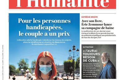 A la une de l'Humanité (16-09-21)