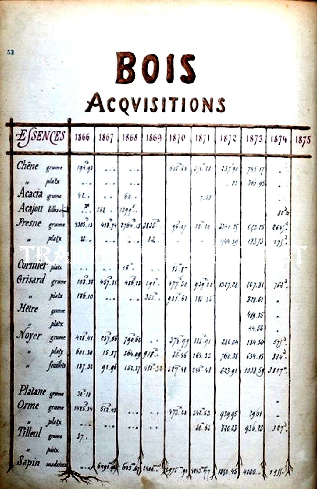 Extrait d'un document statistique (années 1866 1876) de la CGV (Collection Hans Paggen)