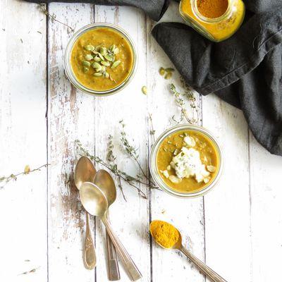 Soupe Aubergine-lentilles aux épices