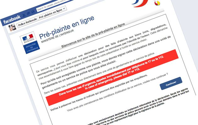 Web : Vous pouvez porter une pré-plainte sur Facebook