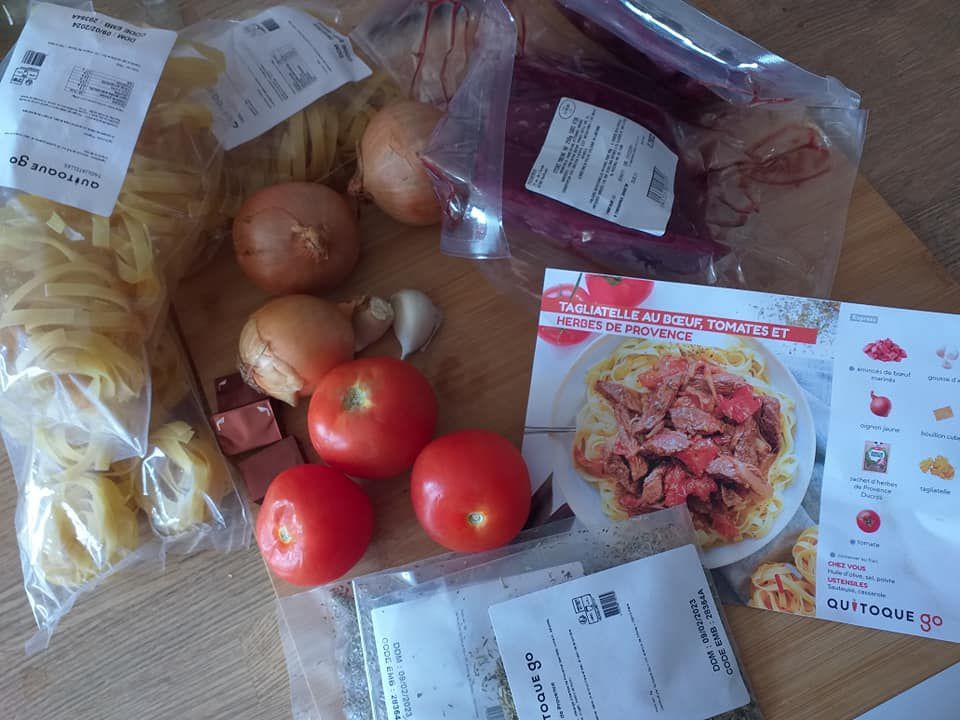 Tagliatelle au boeuf, tomates et herbes de Provence