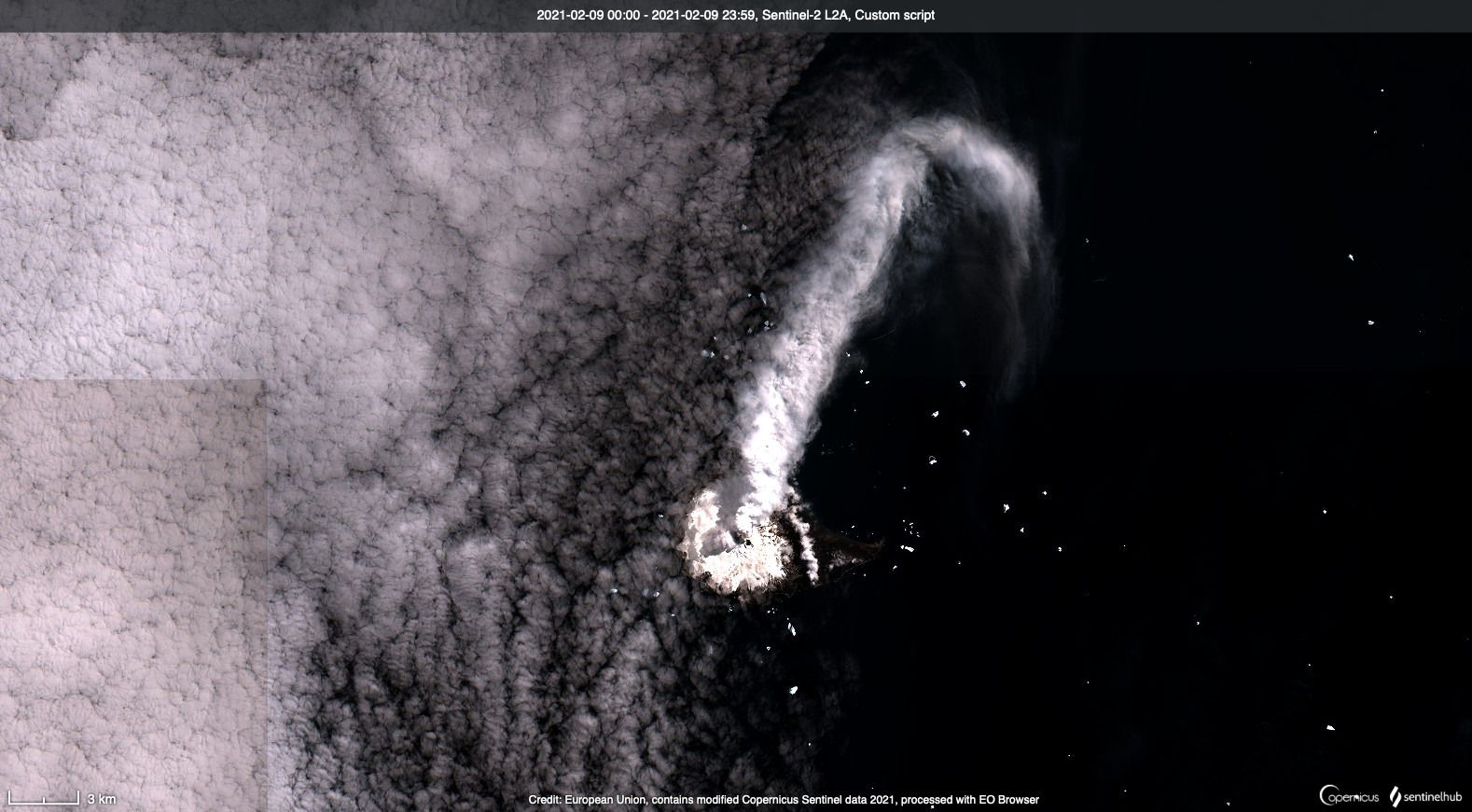 Mt. Michael - activity of 02.09.2021 - image Copernicus / Sentinel L2A custom scripts - one click to enlarge