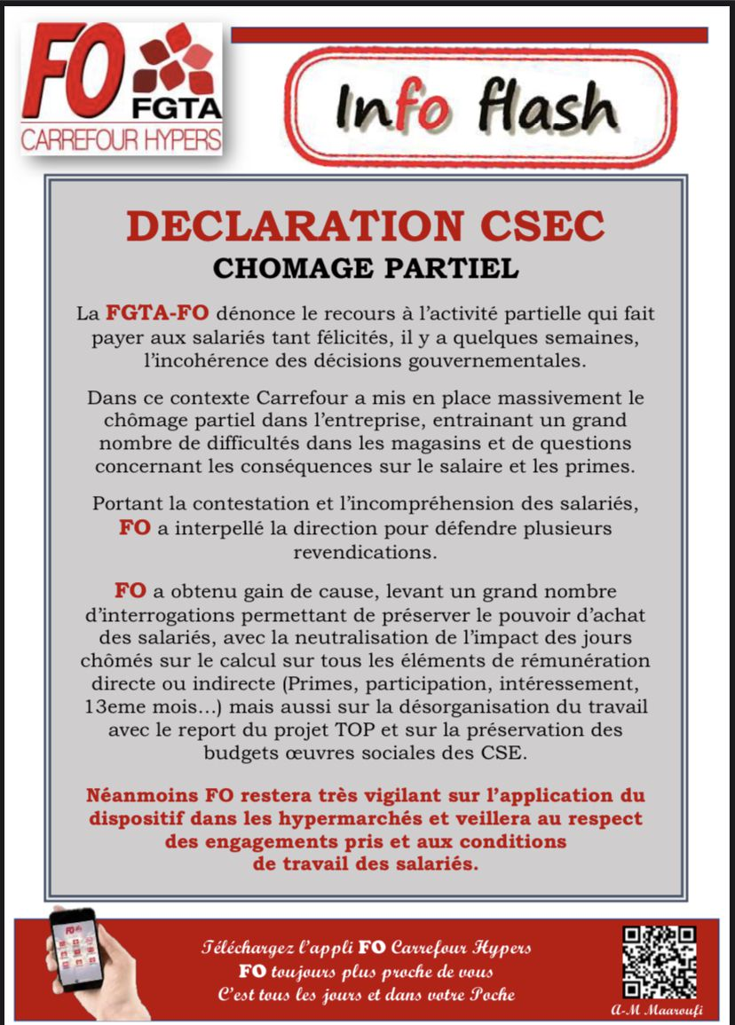 la déclaration faite par Cyril BOULAY représentant syndical FO au CSEC.