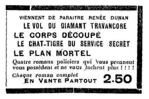 Publicité pour la collection Mystère, Aventures, Police (Le Livre de l'avenir - 1933)