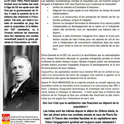 Cérémonie commémorative en mémoire de Pierre Sémard Lundi 8 Mars 2021