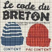 Grille gratuite point de croix : Le code du Breton - Passion creative