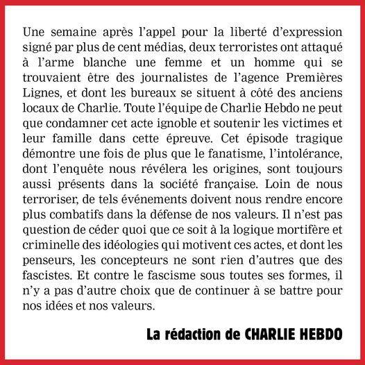 Attentat criminel à Paris de ce vendredi: Appeler toute chose ou tout acte par son vrai nom