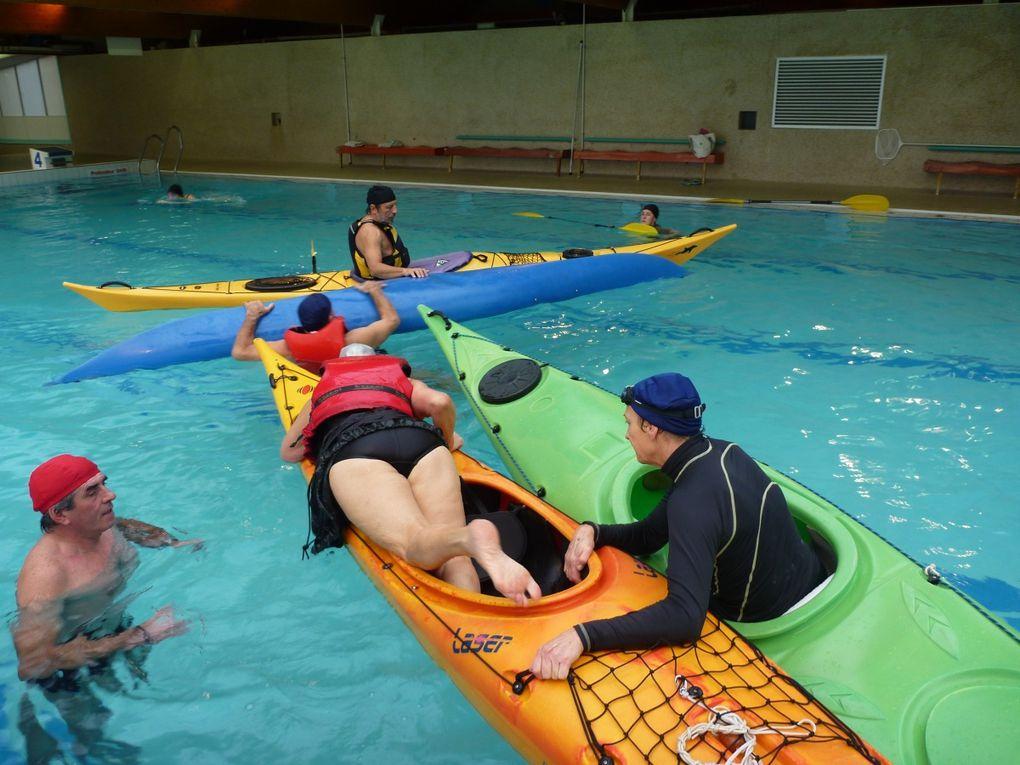 Séance d'entraînement en piscine de la section kayak de l'AST.