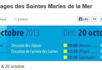 POUR SUIVRE LE PELERINAGE AUX SAINTES-MARIE-DE-LA-MER EN DIRECT ICI
