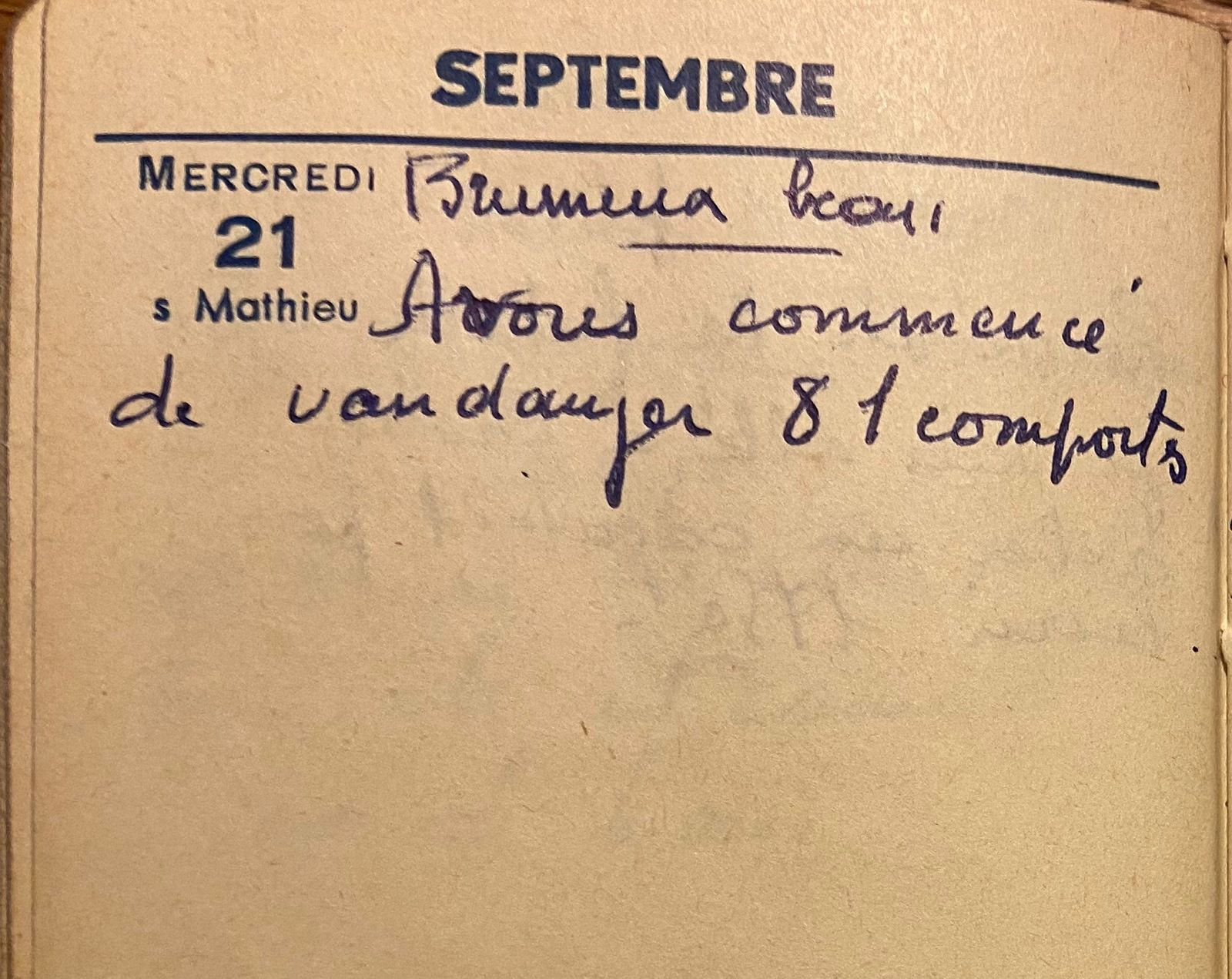 Mercredi 21 septembre 1960 - 81 comportes