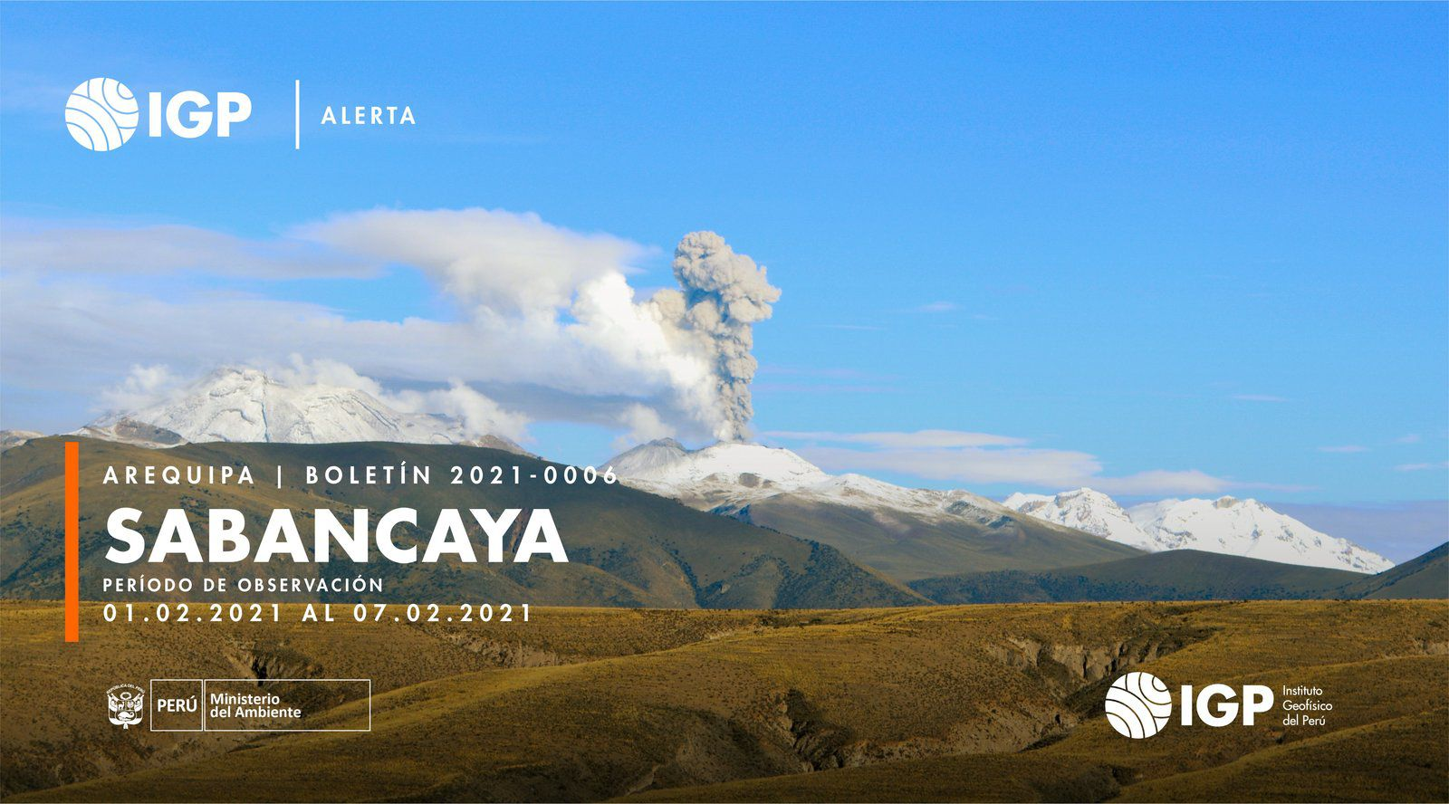 Sabancaya - simultaneous plumes of steam and gas, and ash - Doc. I.G. Peru