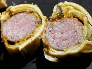 Saucisse de Morteau en Croûte Pesto Rosso et Champignons de Paris