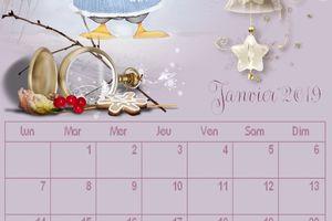 calendrier mensuel ,janvier 2019