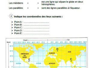 Se repérer sur la Terre : Les pôles et lignes imaginaires CM1-CM2