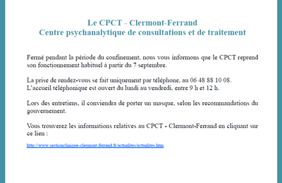 CPCT - Clermont-Ferrand - Centre psychanalytique de consultations et de traitement