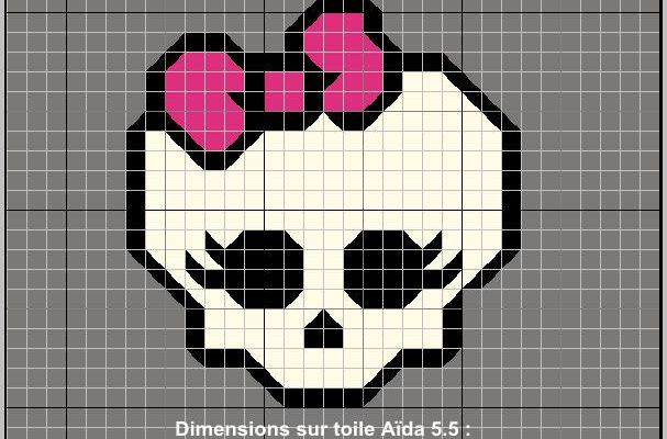 Grille de broderie : tête de mort Monster High
