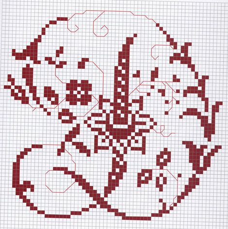 Un alphabet géant et fleuri pour vôtre plus grand plaisir de broder les petites croix.