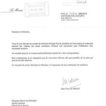 LETTRE DE MONSIEUR LE MINISTRE DE LA DÉFENSE, JEAN-YVES LEDRIAN