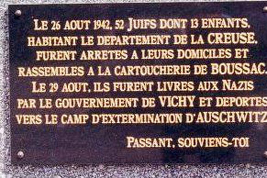 Plaque commémorative du camp de Boussac en Creuse • © sauvetage.pagesperso-orange.fr
