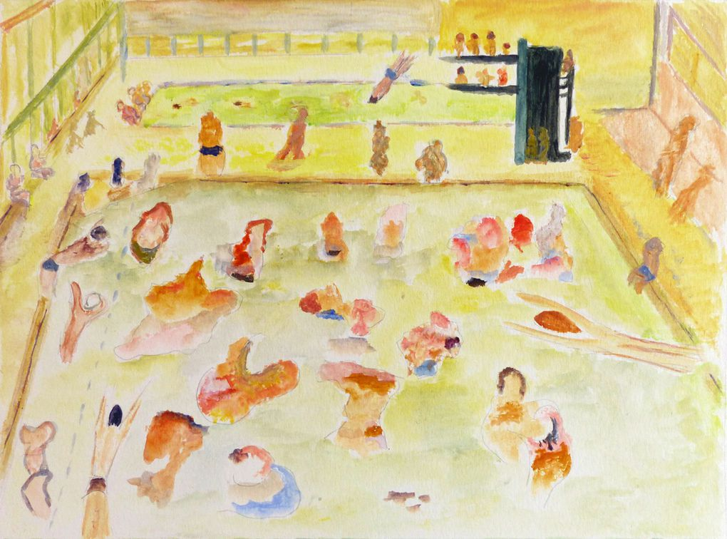 Piscine - 2 peintures de Dominique Gayraud