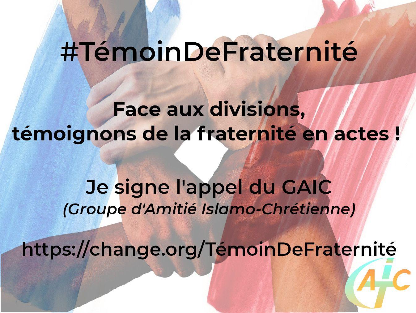 """Signer notre appel """"Témoin de fraternité"""" sur www.change.org/TémoinDeFraternité (nouveau site depuis interruption de Wesign.it)"""