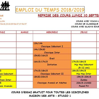 PLANNING COURS 2018-2019