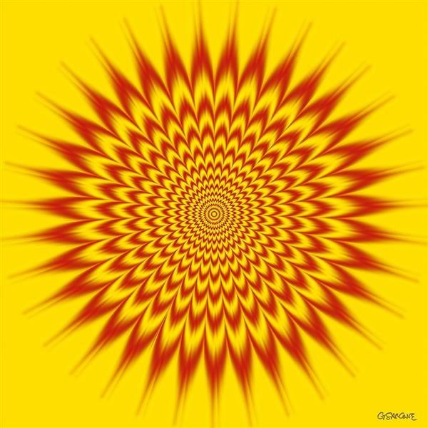 sur fond jaune des motifs rouges en forme de parenthèse disposés en étoile floutés à l'extérieur