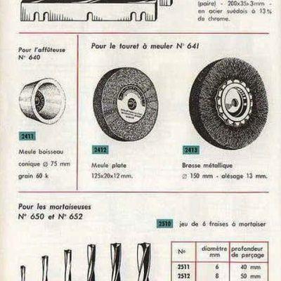 Catalogue d'accessoires pour machine Kity (génération années 60 à 70)
