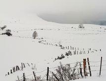 Paysage de neige proche vers Montaleix (63)