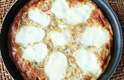 Tortilla aux légumes rôtis et mozzarella