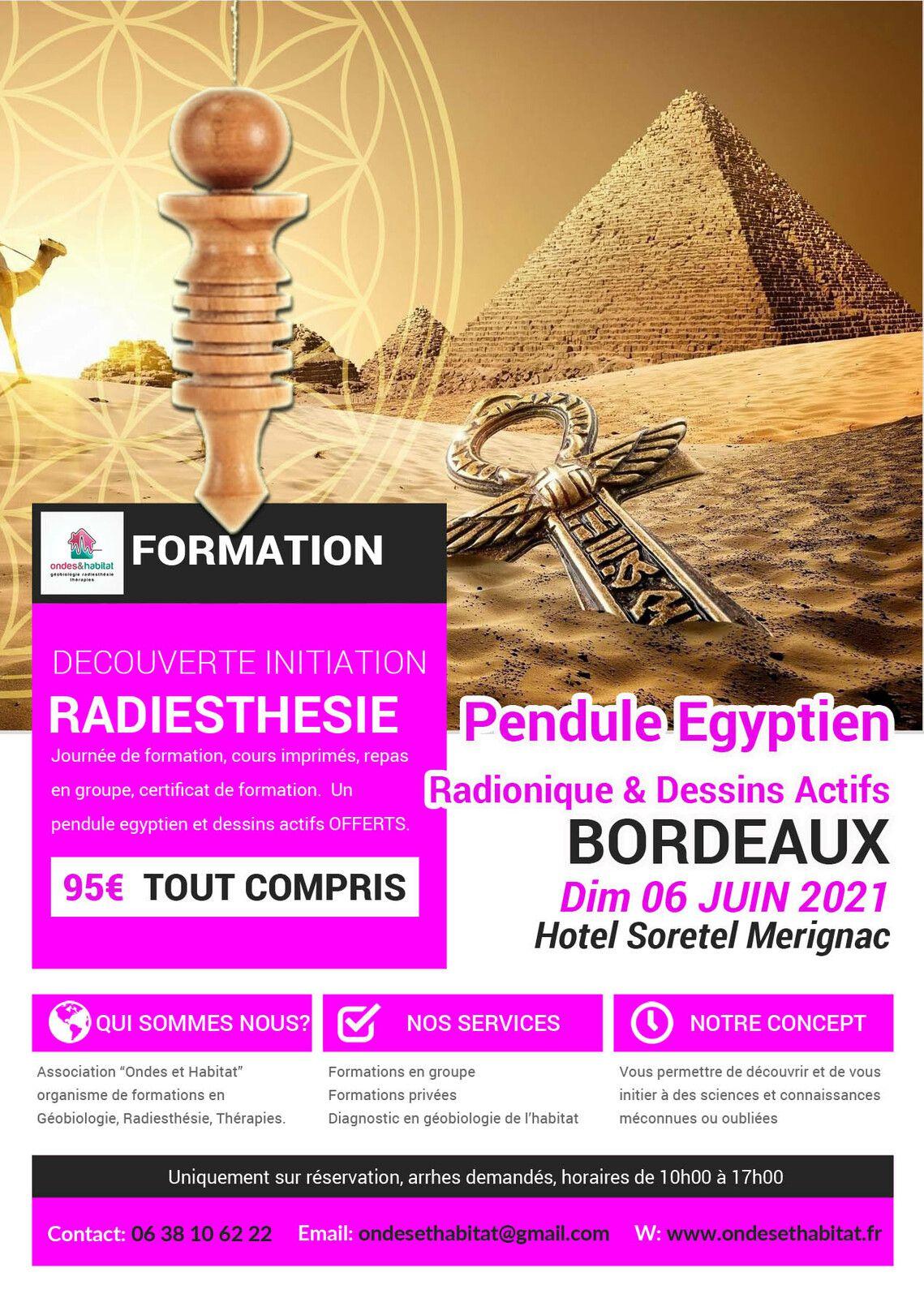 Bordeaux Formation radiesthésie : Pendule égyptien, dessins actifs, radionique Dimanche 06 Juin 2021