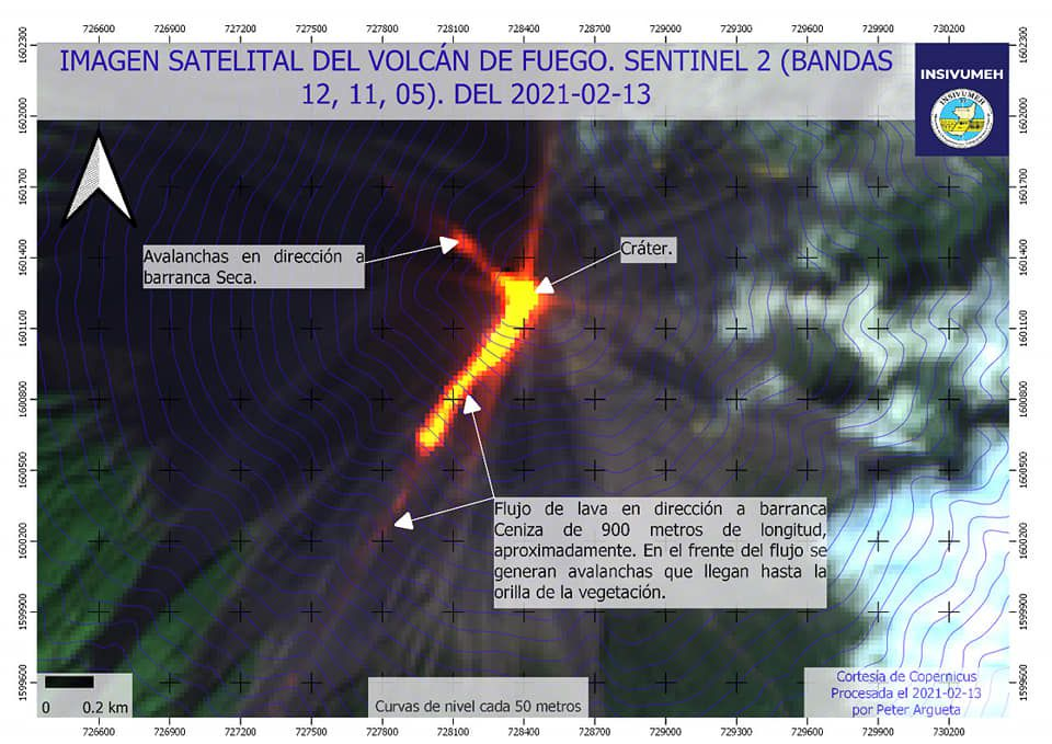 Fuego - image Sentinel-2 bands 12,11,5 of 13.02.2021 - Doc. Insivumeh