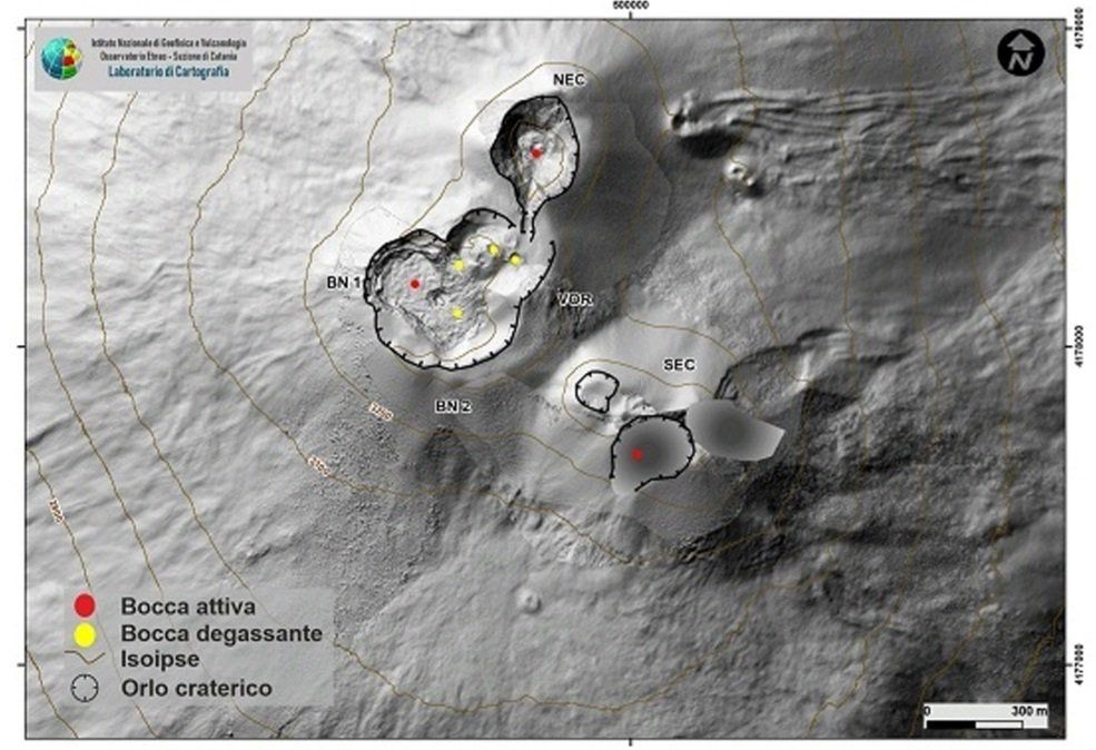 Map of the summit craters of Etna. BN: Bocca Nuova, VOR: Voragine; NEC: northeast crater; SEC: south-eastern crater. The topographic reference base on which the morphological updates have been superimposed is the DEM 2014 developed by the Aerogeophysical Laboratory-Section Rome 2 / 05,09,2021 - click to enlarge