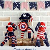 Captain America Sock Monkey | Sew