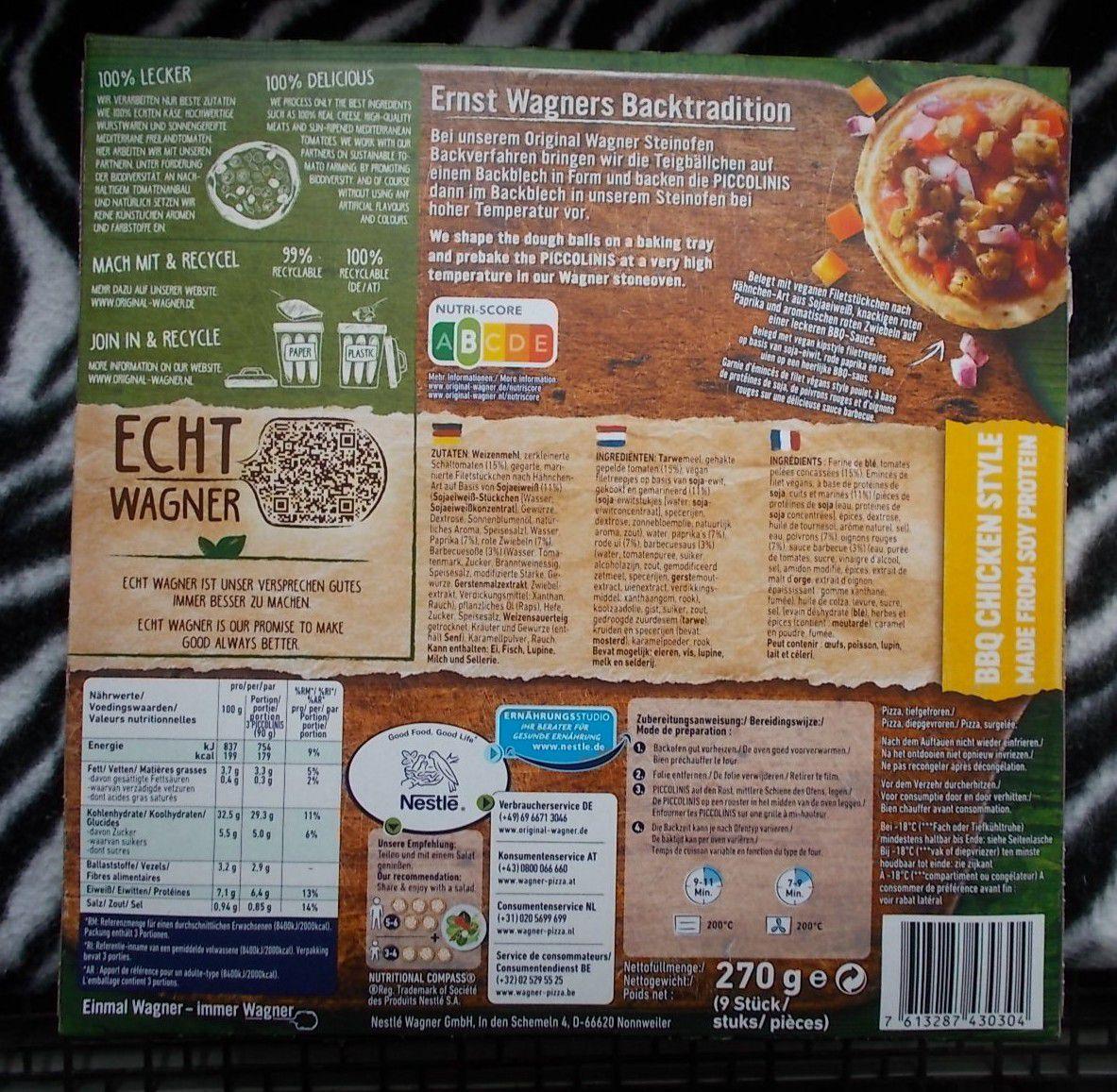 Wagner Steinofen Piccolinis BBQ Chicken Style vegan