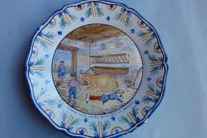 ASSIETTE POLYCHROME DE NEVERS