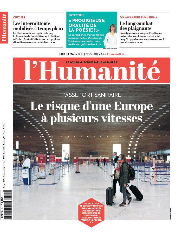 A la une de l'Humanité (11-03-21)