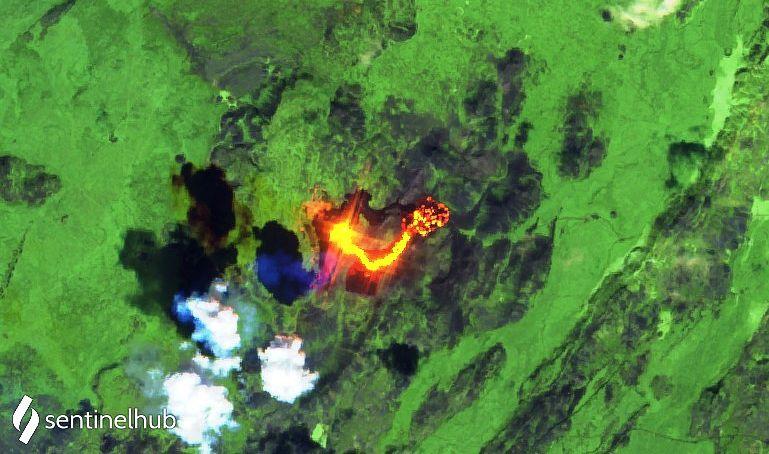 Péninsule de Reykjanes - le site éruptif et le champ de lave au 11.05.2021 - image  Sentinel-2 L1C bands 12,11,4  - un clic pour agrandir